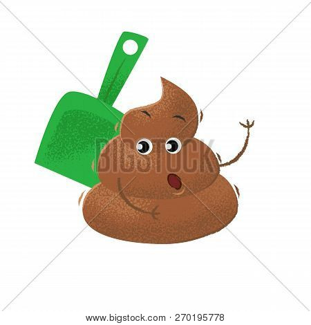 Shovel Cleaning Surprised Dog Poop. Excrement, Character, Stink. Can Be Used For Topics Like Respons