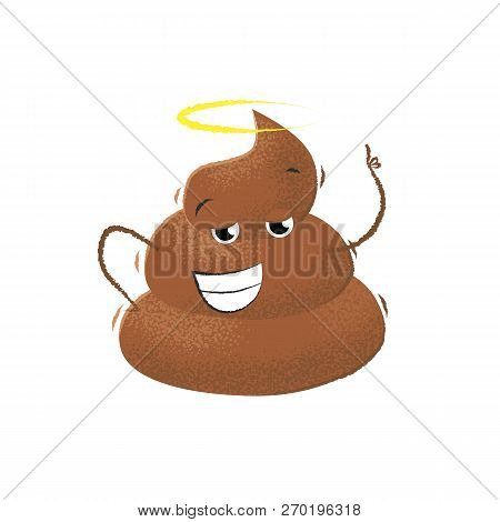 Smiling Confident Poop Raising Hand. Character, Emoji, Excrement. Can Be Used For Topics Like Toilet