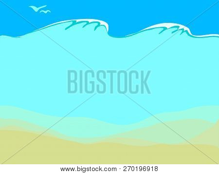 Tranquil Blue Background With Empty Sand Sea Bottom, Waves And Seagulls