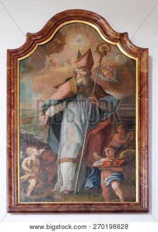 UNTERESSENDORF, GERMANY - JULY 04, 2018: Saint Nicholas, altarpiece in the Saint Martin church in Unteressendorf, Germany