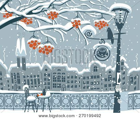 Vector Winter Cartoon Illustration. Cityscape With Snow-covered Branches Of Rowan Tree And Open-air