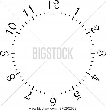 Clock Dial Black Rectangle Signs With Rounded Corners Big Numbers On Transparent Background