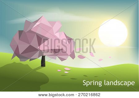 c0845f9a1404d Pink Tree Low Poly With Green Field And Sunset Blue Sky Background,spring  And Winter