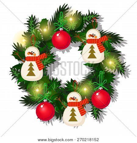 Christmas Wreath Fir Vector Photo Free Trial Bigstock