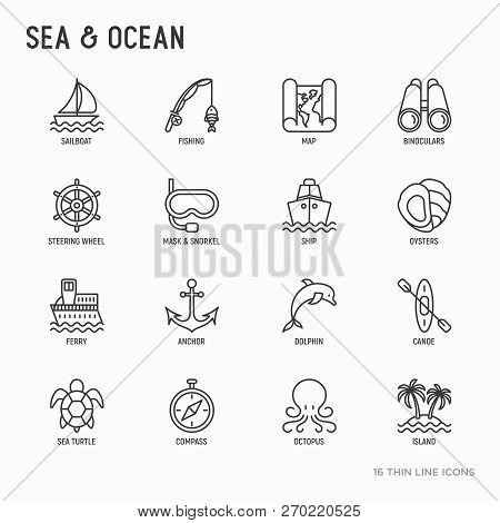 Sea And Ocean Journey Thin Line Icons Set: Sailboat, Fishing, Ship, Oysters, Anchor, Octopus, Compas