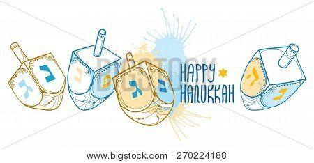 Vector Greeting Card With Outline Hanukkah Or Hanuka Dreidel Or Sevivon With Hebrew Alphabet In Blue