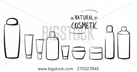 Set Of Hand Drawn Cosmetic Bottles On White Background. Black And White Vector Illustration Of Cosme