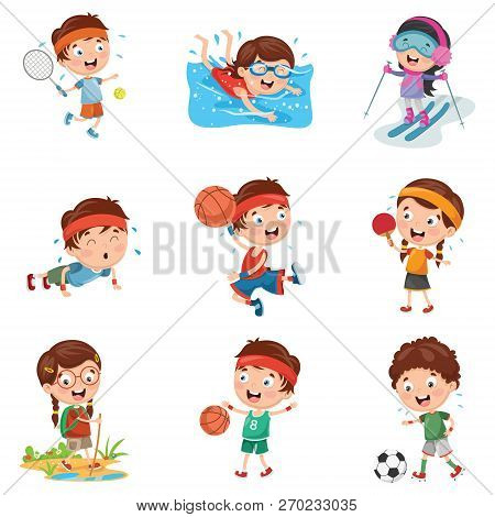 Vector Illustration Of Cute Kids Making Sport