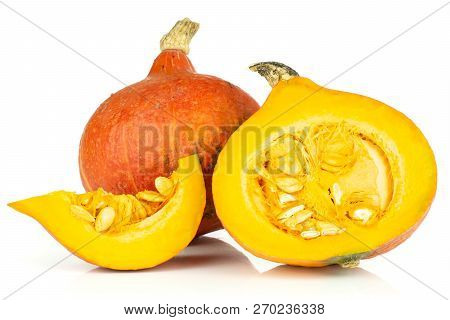 Group Of One Whole One Half One Slice Of Fresh Red Kuri Pumpkin Hokkaido Variety Isolated On White B