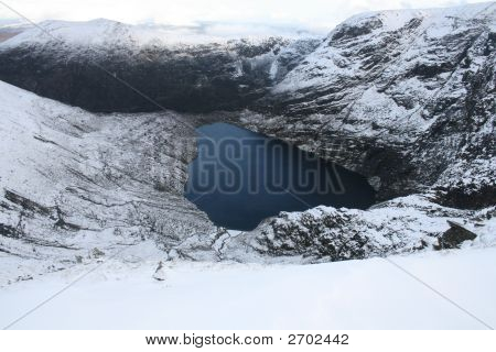 Irish corrie lake in winter in west of Ireland poster