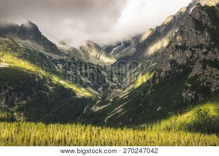 Partially Sunlit Mengusovska Valley And Peaks Of High Tatras Mountains In Slovakia