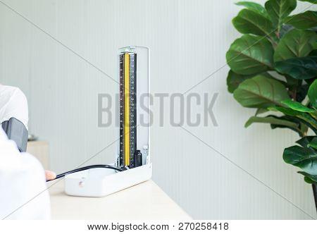Heart Rate Pressure Gauge Or Blood Pressure On Table In Hospital