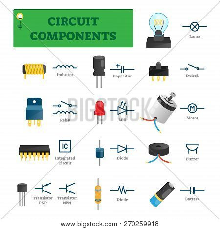 Circuit Components Vector Illustration. List With Electric Technology Parts Like Inductor, Relay, In