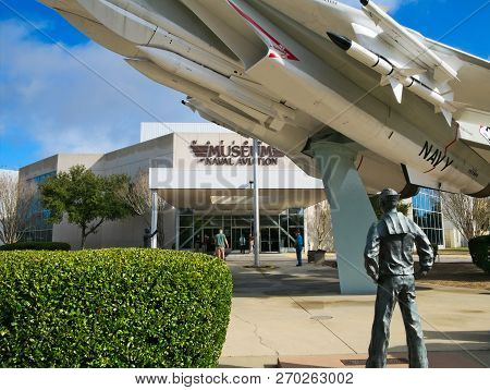 Pensacola, Florida - Feb 16, 2018: National Museum Of Naval Aviation Entrance With Aviator Statue An