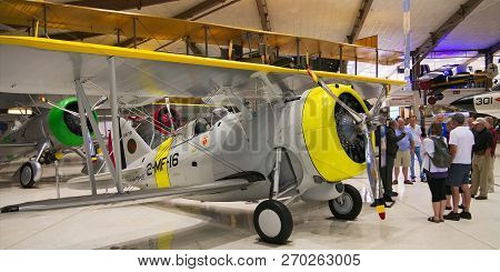 Pensacola, Florida - Feb 16, 2018: Tour Group At National Museum Of Naval Aviation Entrance With Gra