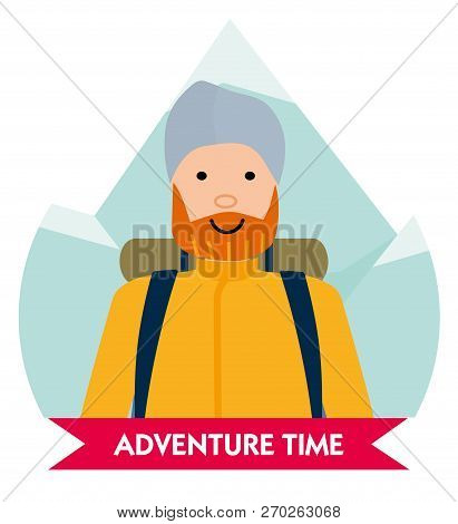 Let The Adventure Begin. Happy Mountaineer In Anticipation Of Adventure. Design Element For Poster,