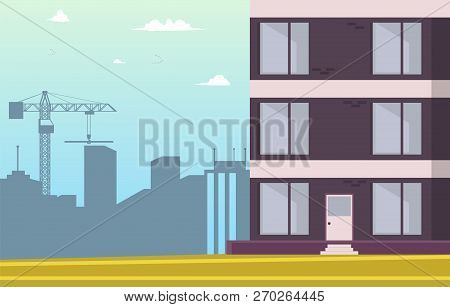 Vector Illustration Cartoon Building New Home. Image Part New House. Sale Apartments In New Resident