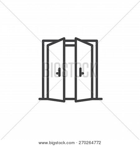 Open Double Door Outline Icon. Linear Style Sign For Mobile Concept And Web Design. Exit Doorway Sim