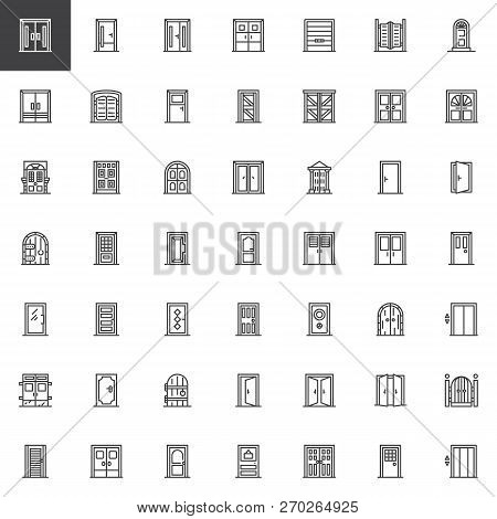 Types Of Doors Outline Icons Set. Linear Style Symbols Collection, Line Signs Pack. Vector Graphics.
