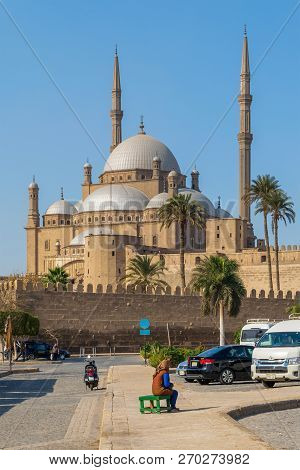 Cairo, Egypt - November 3 2018: The Great Mosque Of Muhammad Ali Pasha (alabaster Mosque), Situated