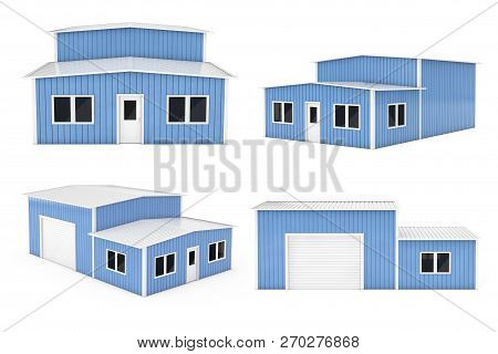 Office And Storage Warehouse Building Set On A White Background. 3d Rendering