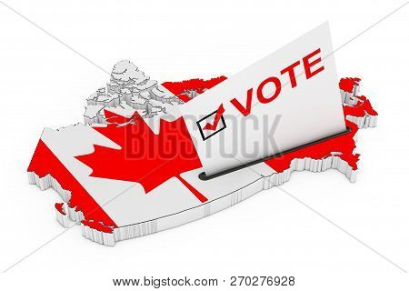 Voting In Canada Concept. Voting Card Half Inserted In Ballot Box In Shape Of Canada Map With Flag O