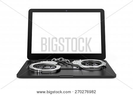 Laptop With Handcuffs On A White Background. 3d Rendering