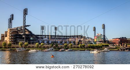 pittsburgh, Pennsylvania, May 23, 2015: Riverside view of PNC Park baseball stadium - home of the Pittsburgh Pirates
