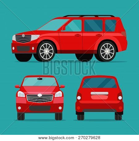 Red Car Two Angle Set. Car Side View, Back View And Front View. Vector Flat Illustration