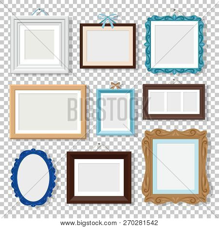 Classic Photo Frames. Vectors Vintage Wood Frames Isolated On Transparent, Old Design Empty Square A