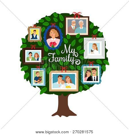 Family Tree. Vector Genealogical Tree With Green Leaves, Grandfather And Sister, Ancestor And Friend