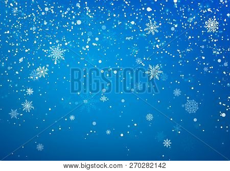 Snowfall Christmas Background. Flying Snow Flakes And Stars On Winter Blue Sky Background. Winter Wi