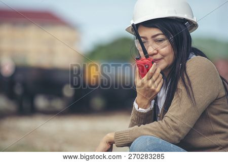 Woman Engineer And Safety Officer Concept.young Woman Engineer Wear Safety Hat (helmet),safety Glass