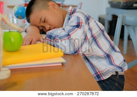 Lazy Stressed Young Little Asian Kid Boy  Resting Sleeping On Desk. Child Fall Asleep. Children Tire