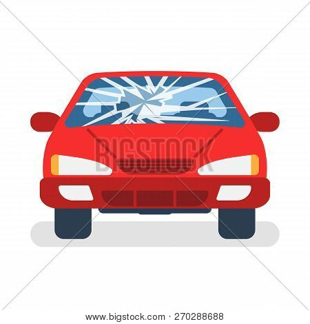 Broken Car Windshield. Accident Of Car. Damaged Glass. Vector Illustration Flat Design. Isolated On