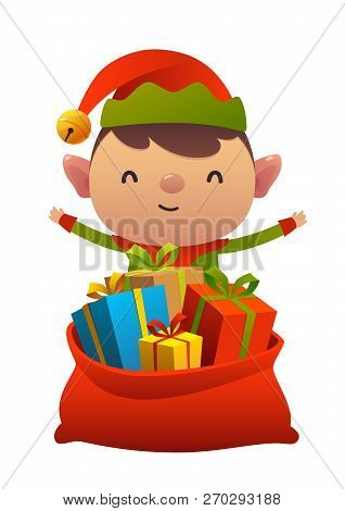 Cute Christmas Elf Behind Toy Bag With Gifts Isolated On White Background