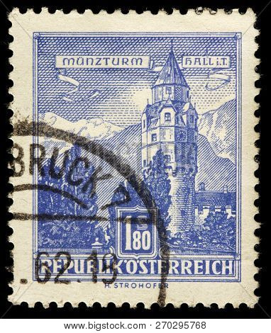 Luga, Russia - January 31, 2018: A Stamp Printed By Austria Shows View Of The Mint Tower In Hall Tow