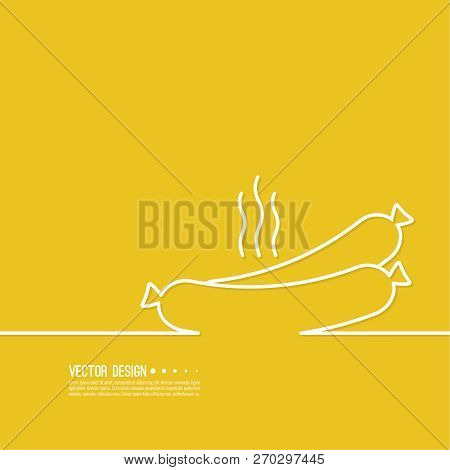 Cooked Hot Fried Sausage. Vector Illustration With Tasty Bratwurst.