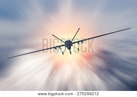 Unmanned military drone uav flying at high speed in the clouds poster
