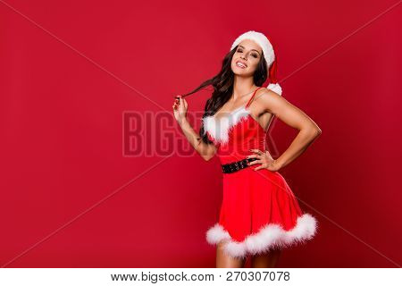 Costume Party Concept. Careless Carefree Brunette Lady With Curly Wave Modern Hairdro Isolated On Sh