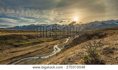 Cave Stream Scenic Reserve during sunset, Canterbury, South Island, New Zealand