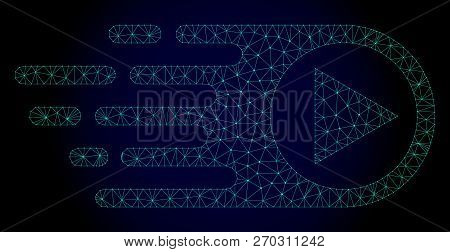 Mesh Rush Right Polygonal Illustration. Abstract Mesh Lines, Triangles And Points On Dark Background