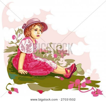 little girl sitting on flower meadow