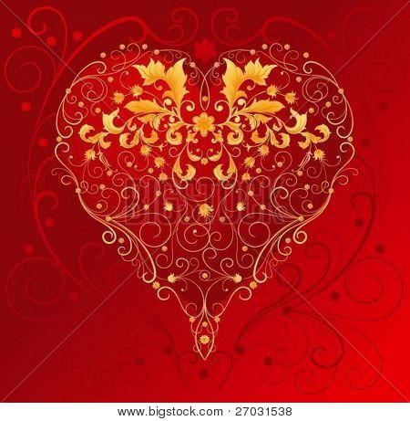 red heart with filigree ornament