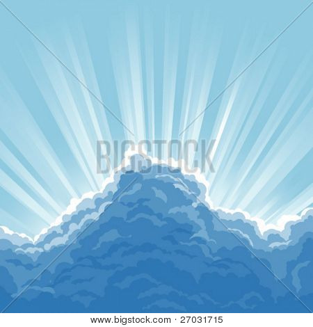 sunbeam on blue sky