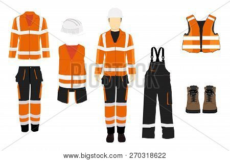 Man Worker In Uniform. Professional Protective Clothes, Boots And Safety Helmet. Various Turns Man's