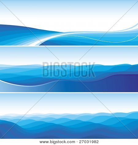 Set Of Blue Abstract Wave Backgrounds, raster version
