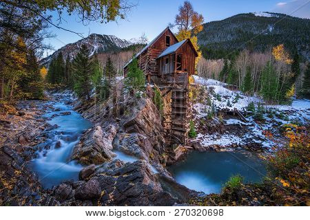 Historic Wooden Powerhouse Called The Crystal Mill In Colorado. It Is Located On An Outcrop Above Th