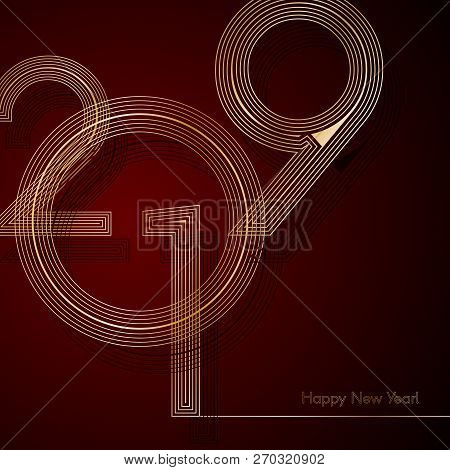 Gold Lines 2019 New Year On A Dark Red Background Creative Element For Design Luxury Cards Invitatio