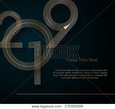 Gold Lines 2019 New Year On A Dark Background Creative Element For Design Luxury Cards Invitations P